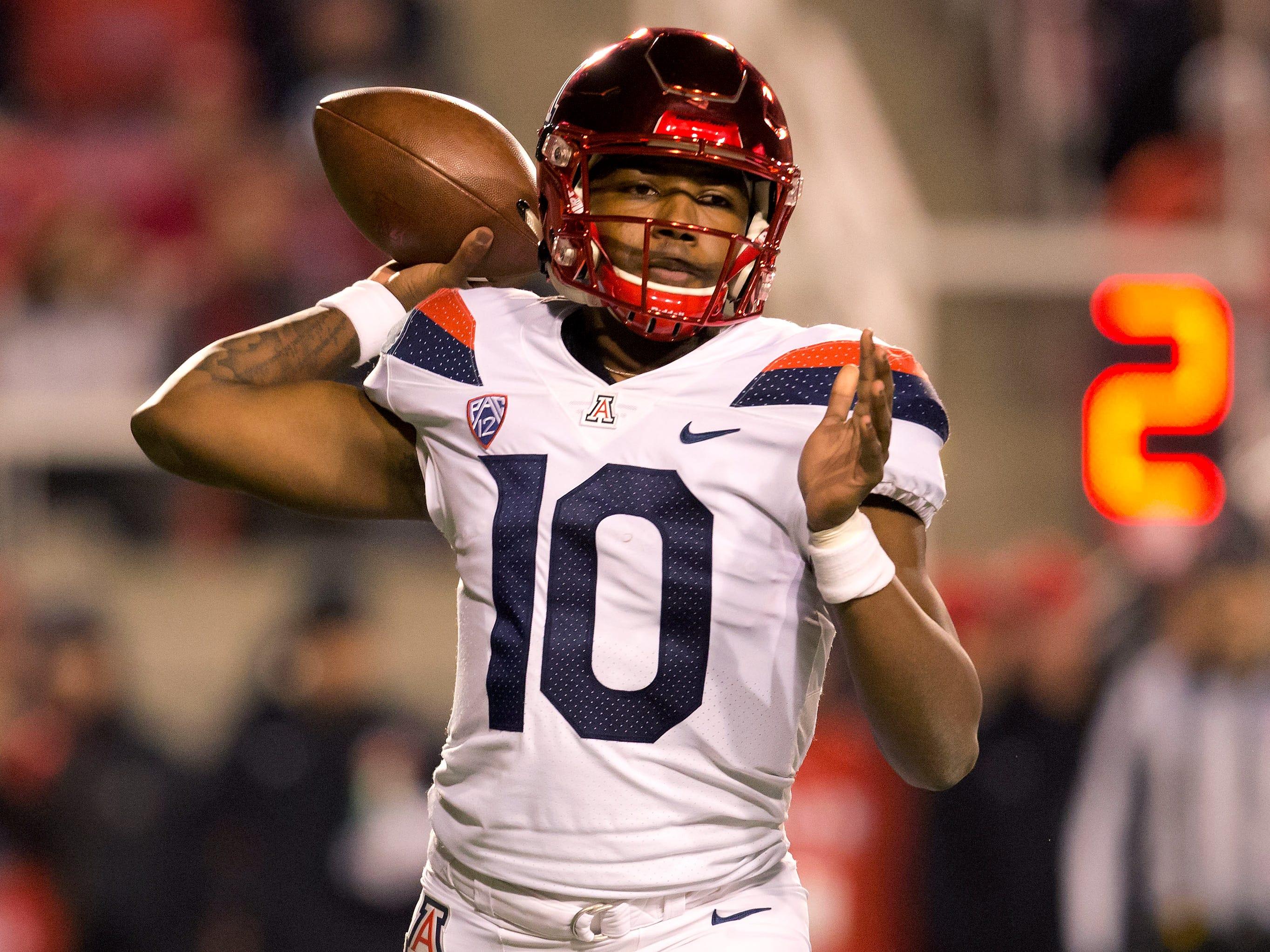 Oct 12, 2018; Salt Lake City, UT, USA; Arizona Wildcats quarterback Jamarye Joiner (10) passes the ball during the first half against the Arizona Wildcats at Rice-Eccles Stadium.