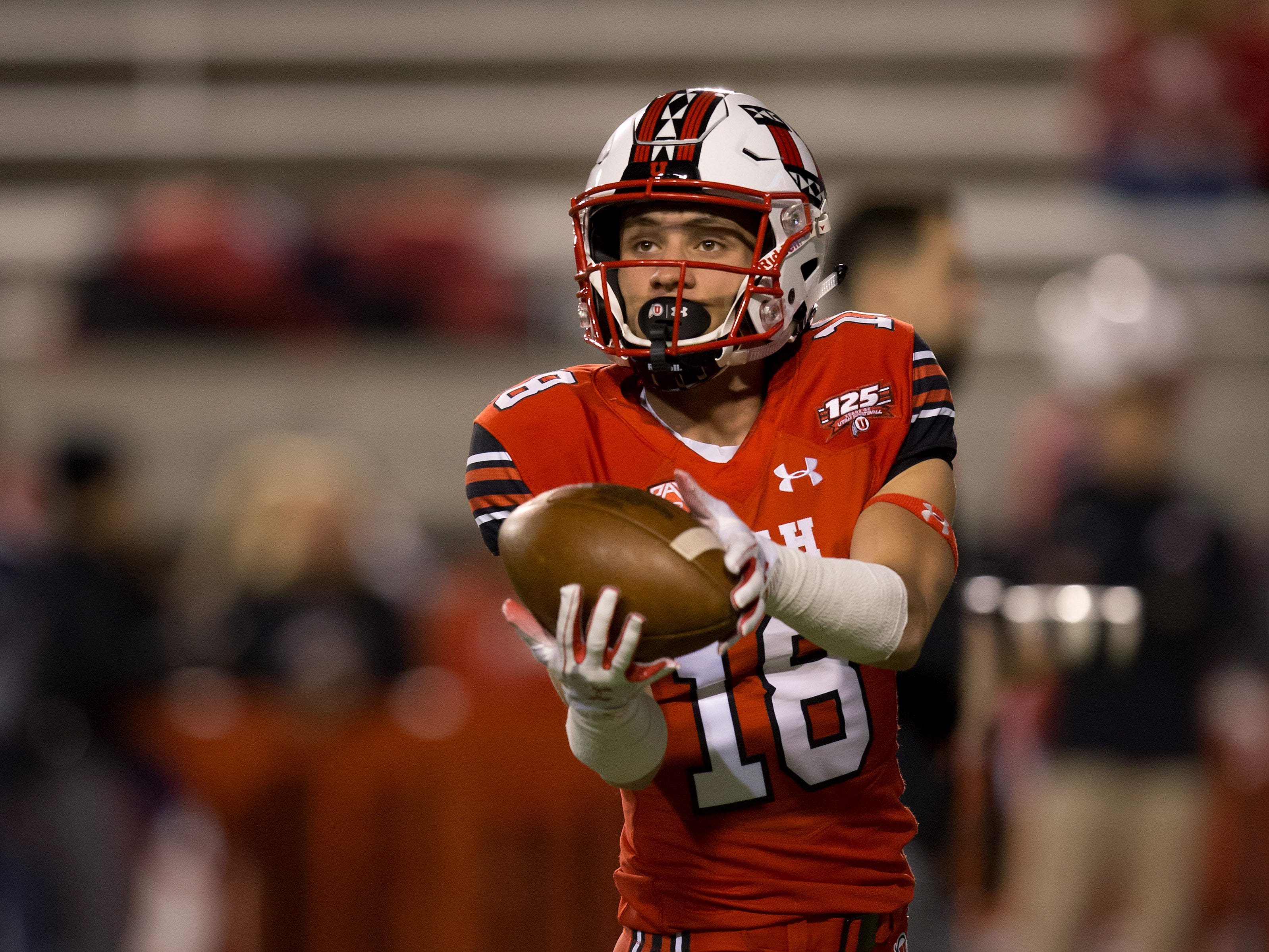Oct 12, 2018; Salt Lake City, UT, USA; Utah Utes wide receiver Britain Covey (18) warms up prior to the game against the Arizona Wildcats at Rice-Eccles Stadium.