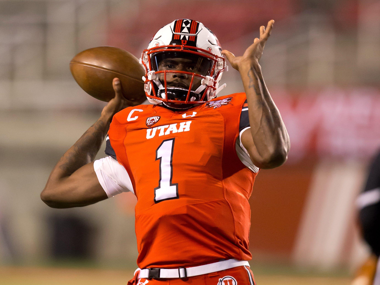 Oct 12, 2018; Salt Lake City, UT, USA; Utah Utes quarterback Tyler Huntley (1) warms up prior to the game against the Arizona Wildcats at Rice-Eccles Stadium.