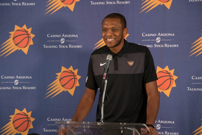 James Jones spoke to media about becoming the Phoenix Suns interim general manager, October 12, 2018.