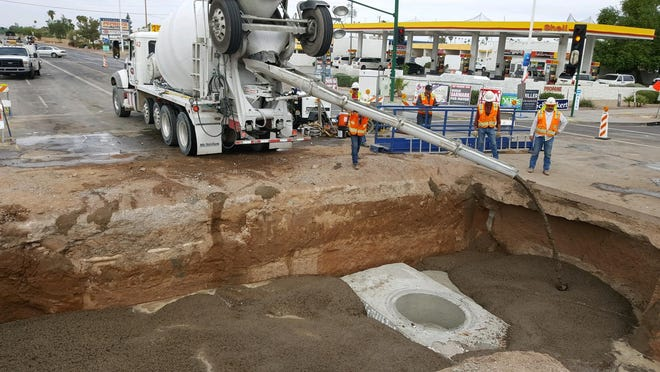 A sinkhole that developed in an intersection at 35th Avenue and Cactus Road in Phoenix could be repaired by the end of next week.