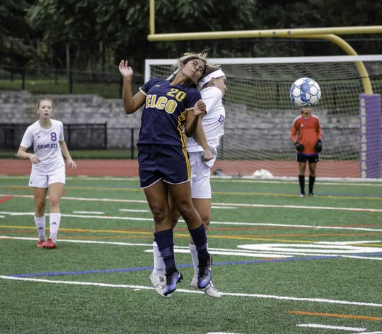 Elco's Tanisha Grewal goes up for a header during the Raiders' 4-1 win over Ephrata on Saturday in the opening round of the Lancaster-Lebanon League playoffs.