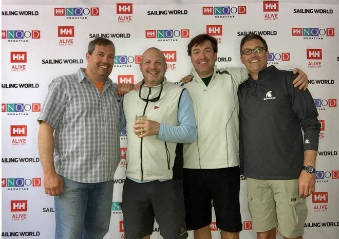 The crew of the J-80 Kopp-Out are, from left, CJ Ruffing, Brett Langolf,  Tom Kopp and Steve Young. The crew qualified for the Helly Hansen Caribbean National Offshore One Design Championship.