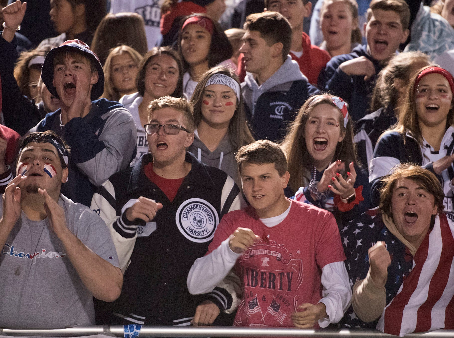Chambersburg fans cheer. Chambersburg dropped a 28-13 game against Harrisburg in PIAA football on Friday, Oct. 12, 2018.