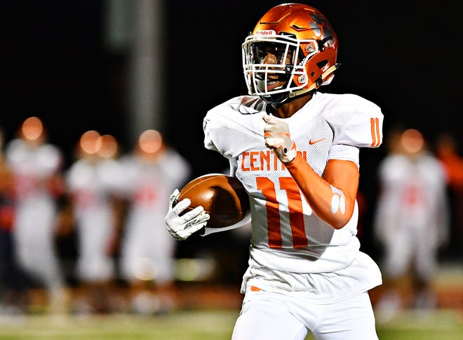 Central York's Taylor Wright-Rawls, shown here in a file photo, looks to build on a sophomore season where he had nearly 900 receiving yards and 10 touchdowns.