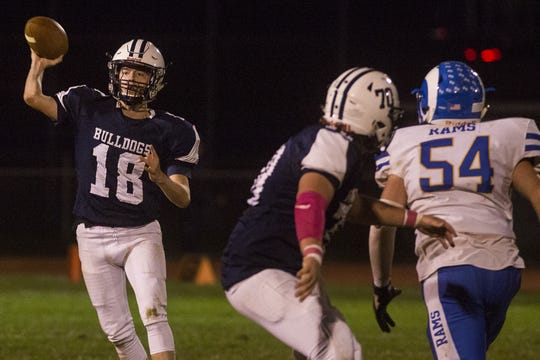 West York quarterback Corey Wise throws the ball. West York defeats Kennard-Dale 32-21 in football at West York Area High School in West York, Friday, October 12, 2018.