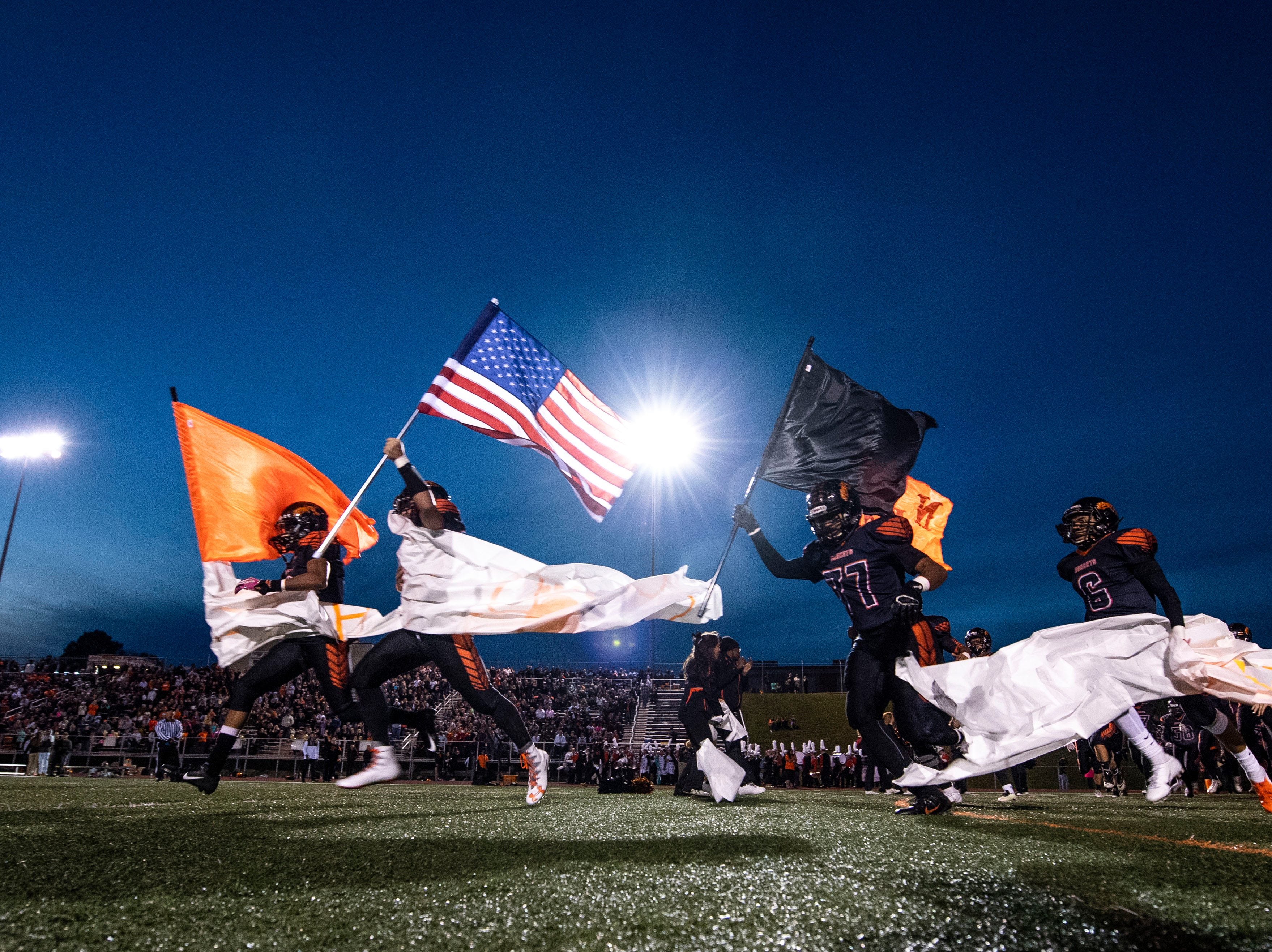 The Northeastern Bobcats enter the field for their homecoming game on Friday, Oct. 12, 2018. The Central York Panthers beat the Northeastern Bobcats, 44-7.