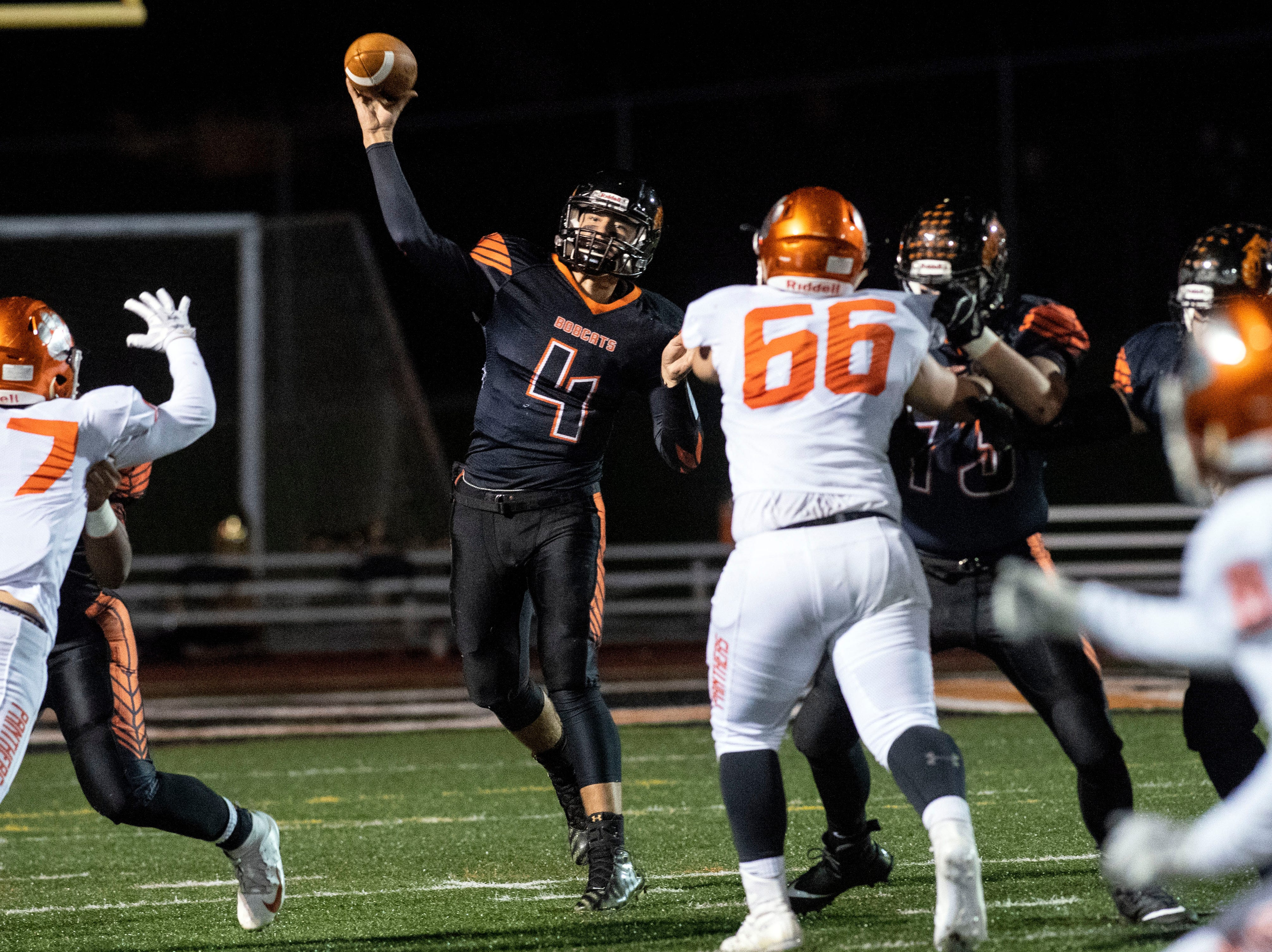 Northeastern quarterback Zech Sanderson (4) throws a pass downfield during a YAIAA Division I football game at Northeastern High School on Friday, Oct. 12, 2018. The Central York Panthers beat the Northeastern Bobcats, 44-7.