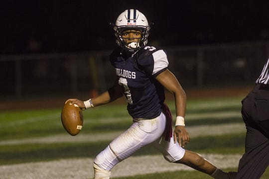 West York's Ay'Jaun Marshall scores a touchdown. West York defeats Kennard-Dale 32-21 in football at West York Area High School in West York, Friday, October 12, 2018.