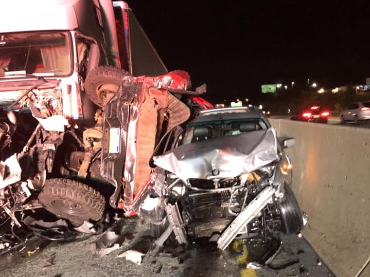 Colonial Park Fire Company shared photos of the northbound I-83 crash that left three dead and seven injured.