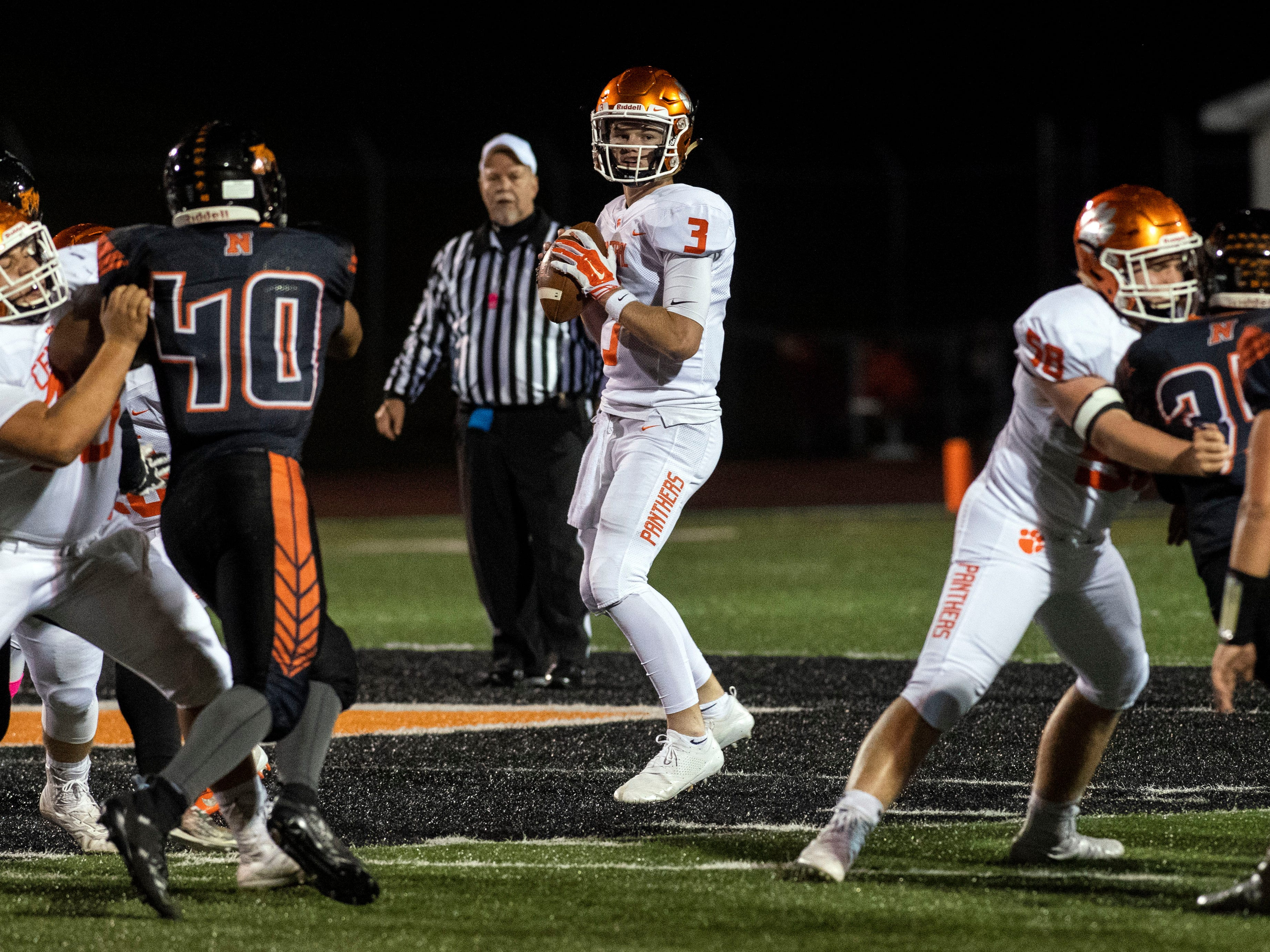 Central York quarterback Cade Pribula (3) drops back to pass during a YAIAA Division I football game at Northeastern High School on Friday, Oct. 12, 2018. The Central York Panthers beat the Northeastern Bobcats, 44-7.