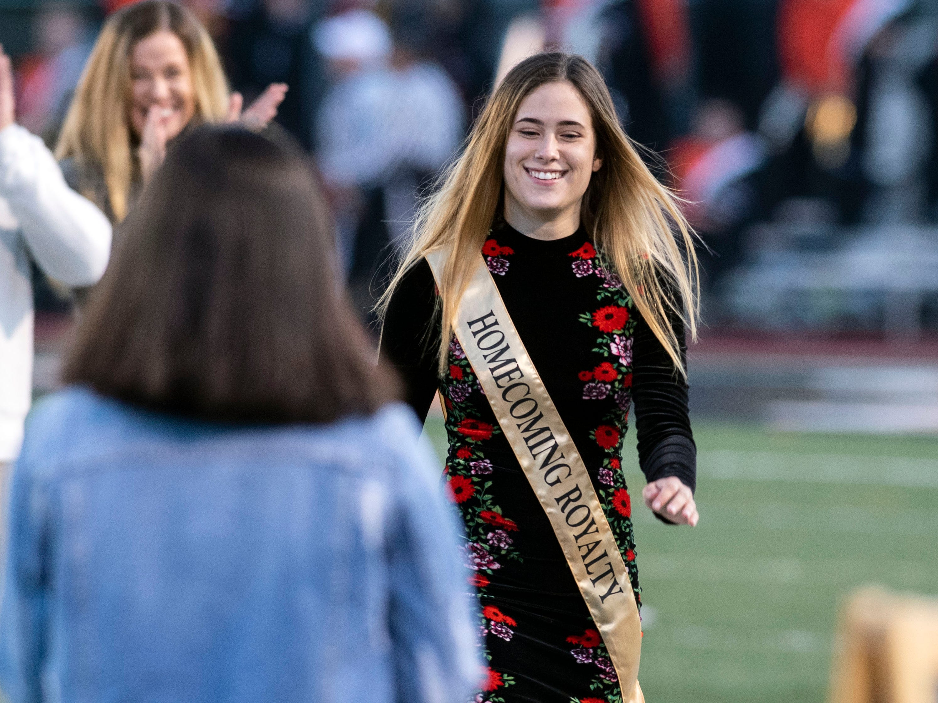 The Northeastern homecoming princess walks to be crowned prior to a YAIAA Division I football game at Northeastern High School on Friday, Oct. 12, 2018. The Central York Panthers beat the Northeastern Bobcats, 44-7.