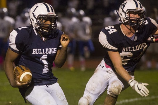 West York's Kelvin Matthews runs with the ball. West York defeats Kennard-Dale 32-21 in football at West York Area High School in West York, Friday, October 12, 2018.