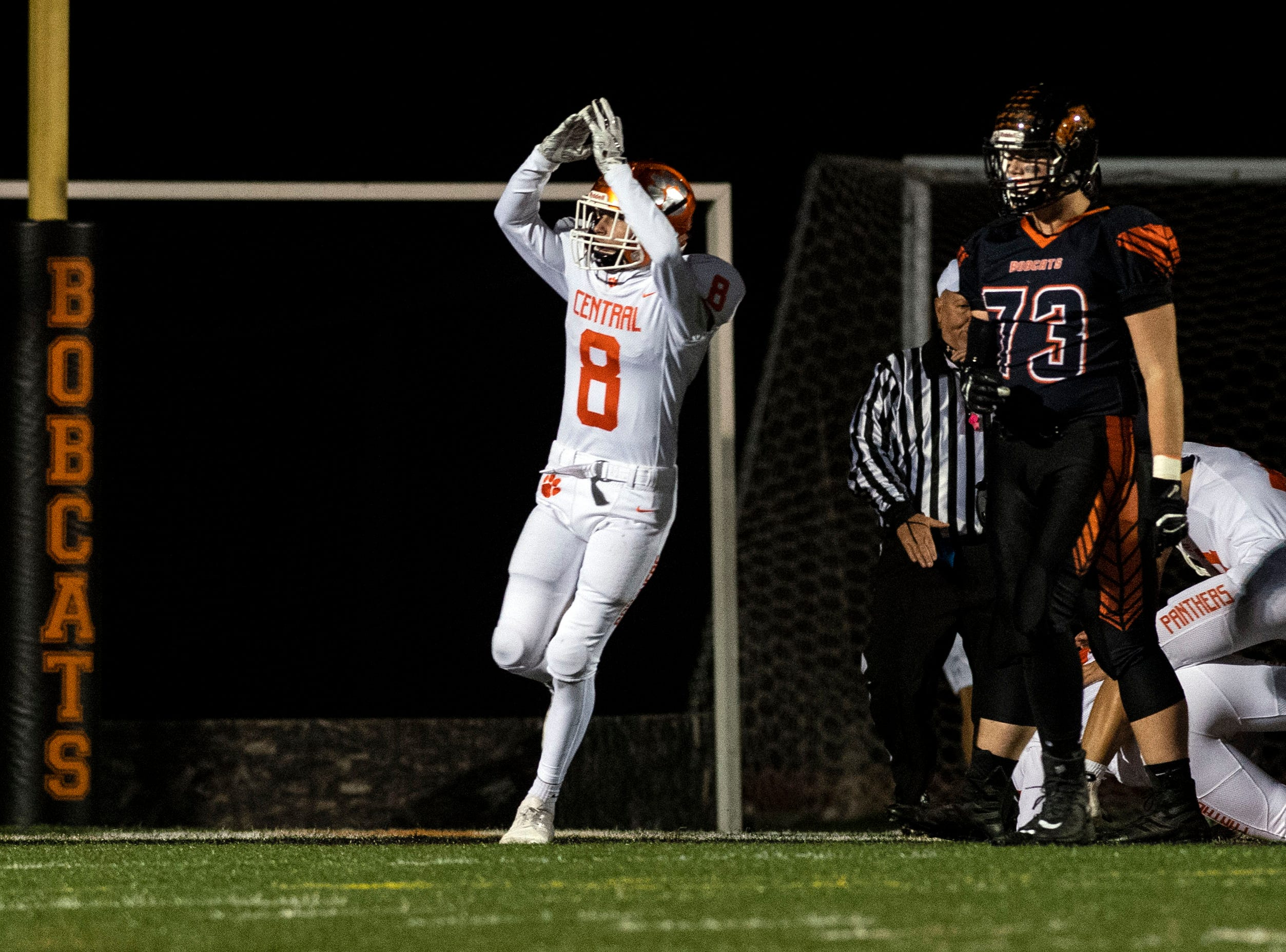 Central York's Mason Myers (8) celebrates the Panthers earning a safety in the first quarter during a YAIAA Division I football game at Northeastern High School on Friday, Oct. 12, 2018. The Central York Panthers beat the Northeastern Bobcats, 44-7.