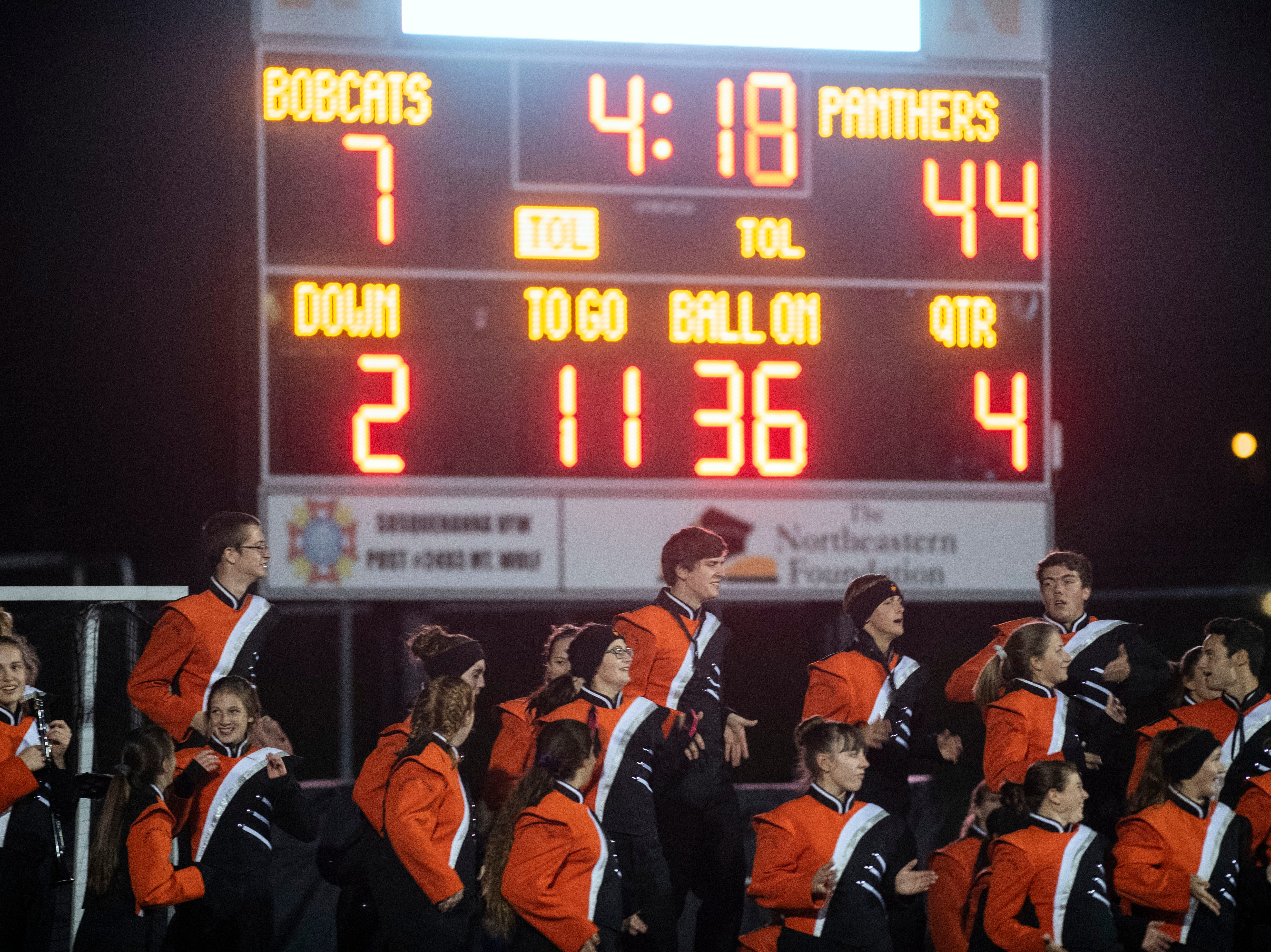 The Central York band dances in the final minutes of a YAIAA Division I football game at Northeastern High School on Friday, Oct. 12, 2018. The Central York Panthers beat the Northeastern Bobcats, 44-7.