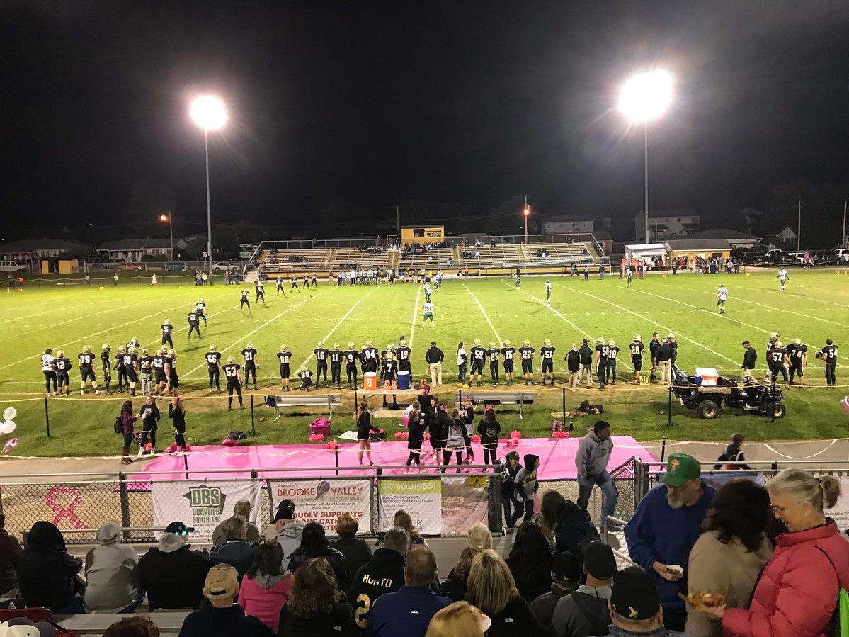 Second half underway on Delone's breast cancer awareness night.