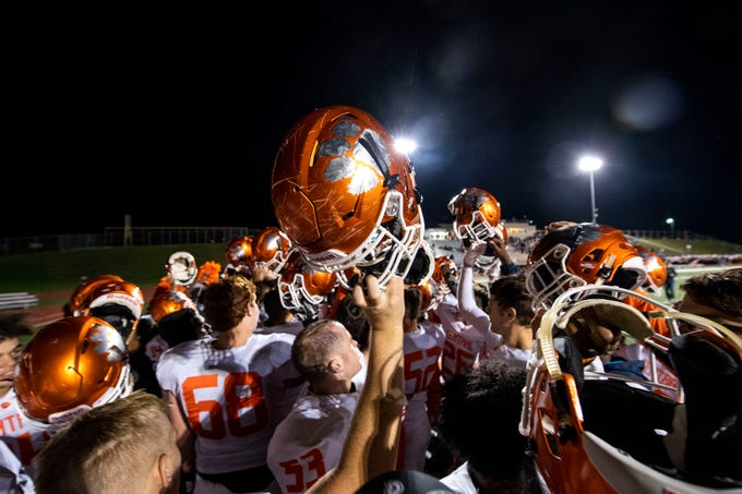 Central York breaks from a huddle after its victory over Northeaster during a YAIAA Division I football game at Northeastern High School on Friday, Oct. 12, 2018. The Central York Panthers beat the Northeastern Bobcats, 44-7.