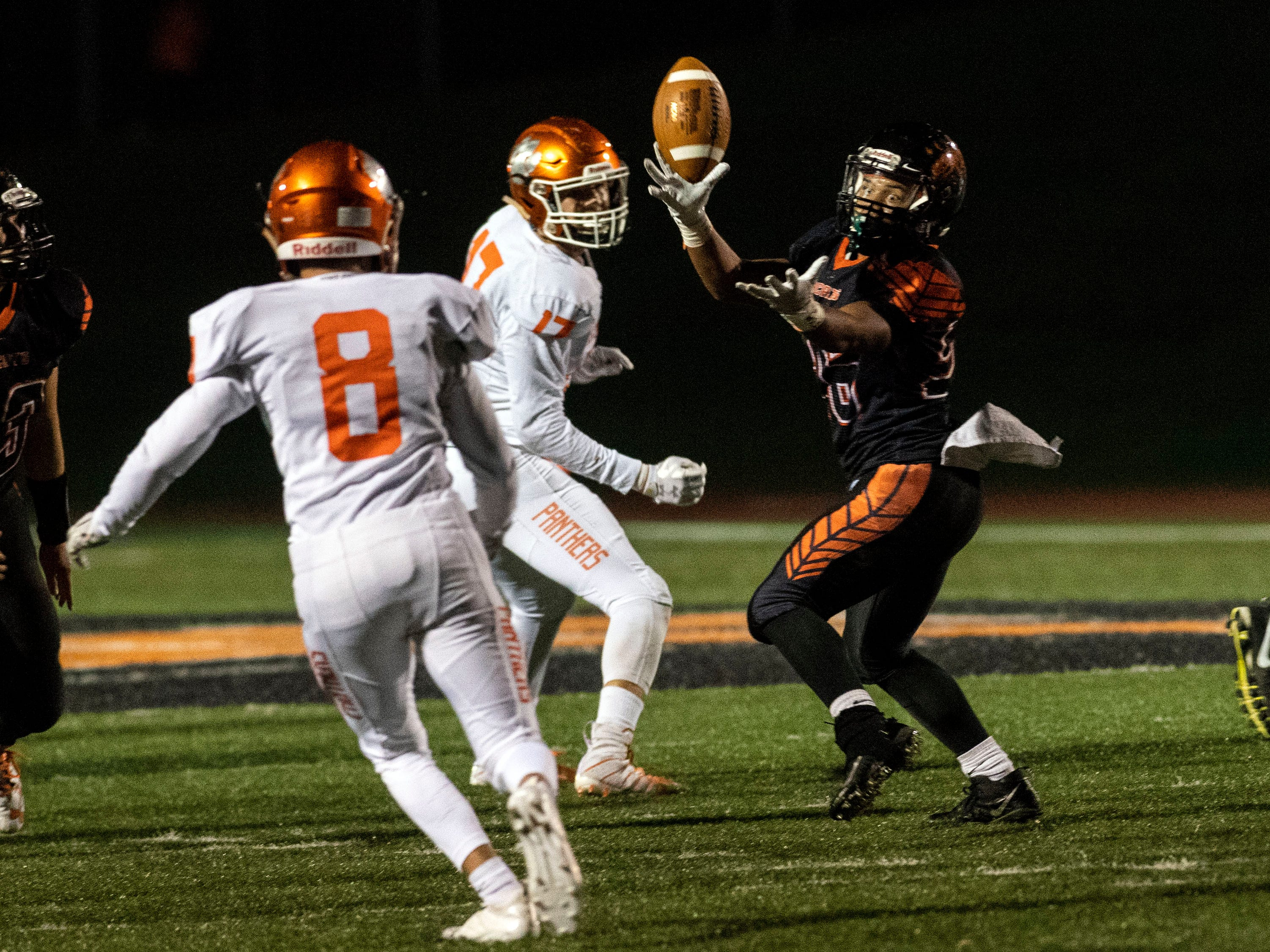 Northeastern's Manny Capo (26) unsuccessfully reaches for a pass during a YAIAA Division I football game at Northeastern High School on Friday, Oct. 12, 2018. The Central York Panthers beat the Northeastern Bobcats, 44-7.
