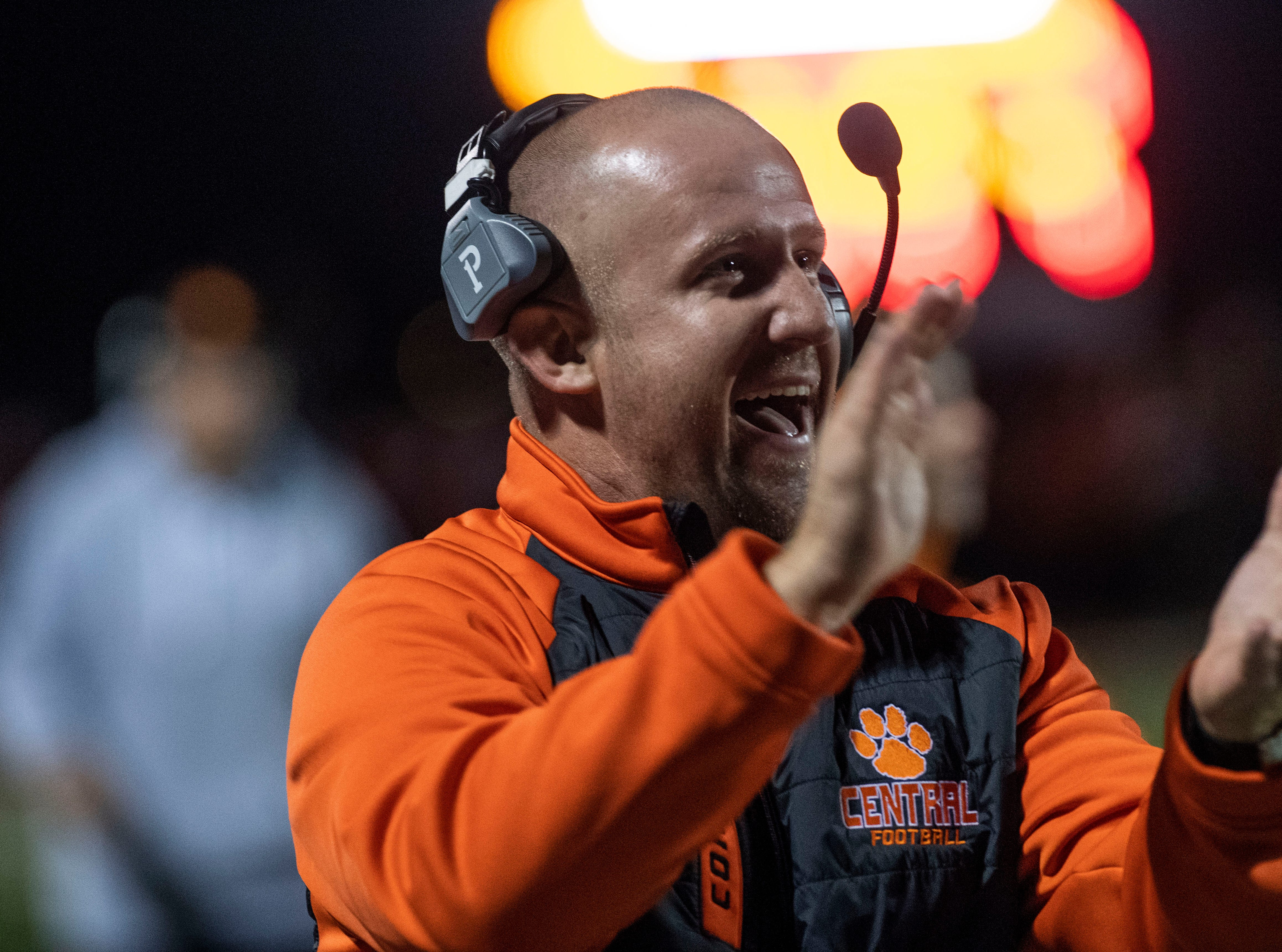Central York head coach Josh Oswalt celebrates after Will Van Dyke's 95-yard touchdown during a YAIAA Division I football game at Northeastern High School on Friday, Oct. 12, 2018. The Central York Panthers beat the Northeastern Bobcats, 44-7.