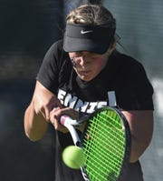 Galena's Ali Cohen hits a two-handed backhand to opponent Kylan LaGreca his during the 2018 NIAA 4A Northern Region Tennis Championships on Friday Oct. 12, 2018.