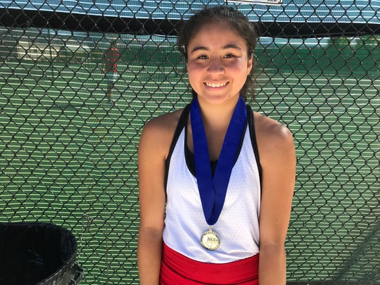 Reno sophomore Celeste Parker won the girls singles Northern 4A Regional tennis title on Saturday at Bishop Manogue.