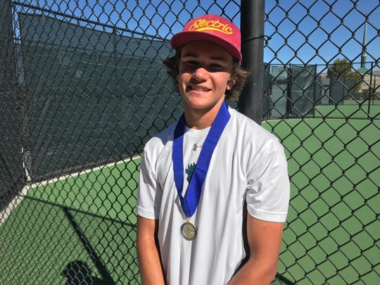Damonte Ranch senior Zeke Brooke won the boys singles Northern 4A Regional tennis title on Saturday at Bishop Manogue.