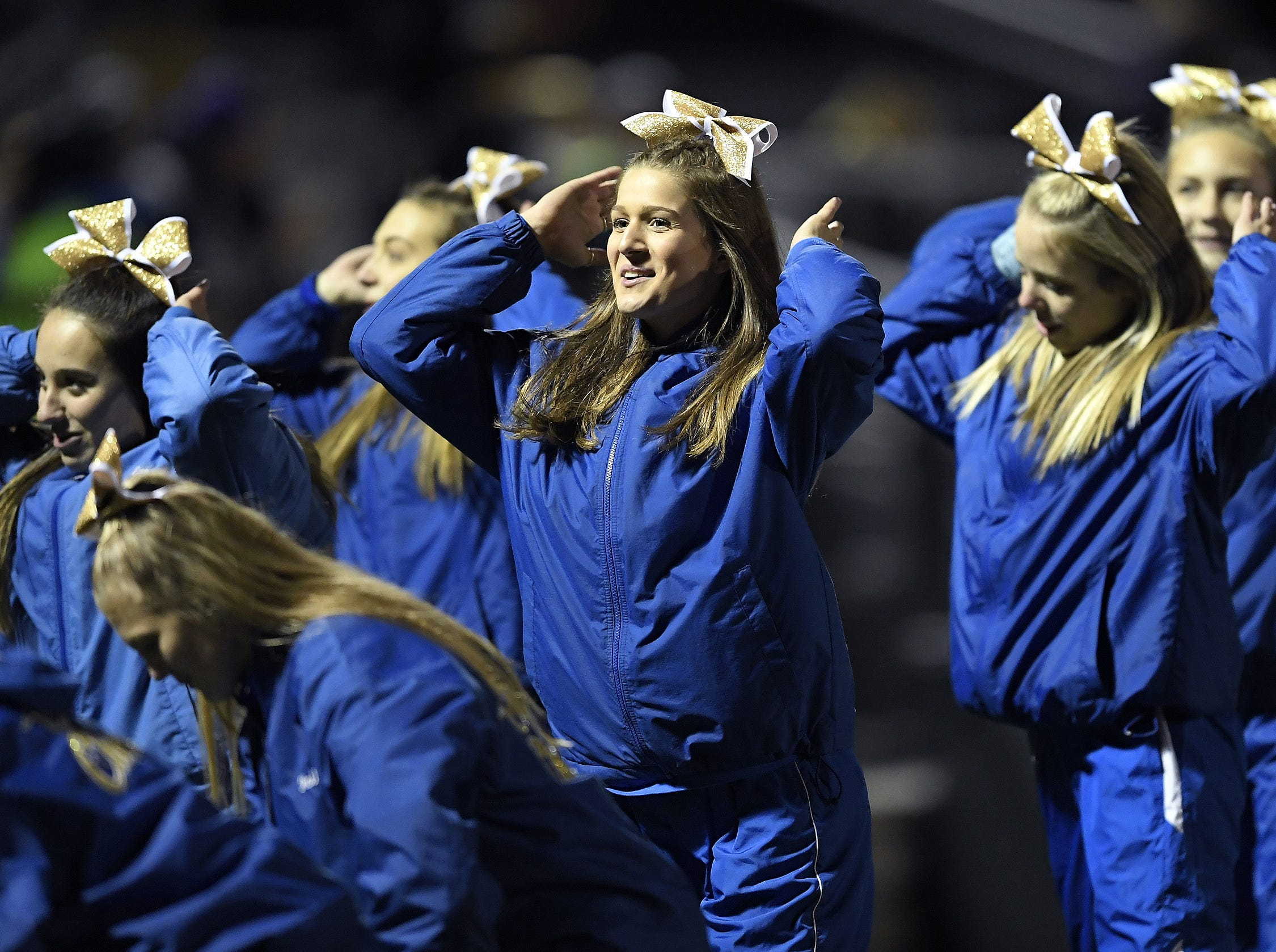 Webster Schroeder cheerleaders perform during a regular season game against Gates Chili played at Webster Schroeder High School, Friday, Oct. 12, 2018. Webster Schroeder beat Gates Chili 28-7.