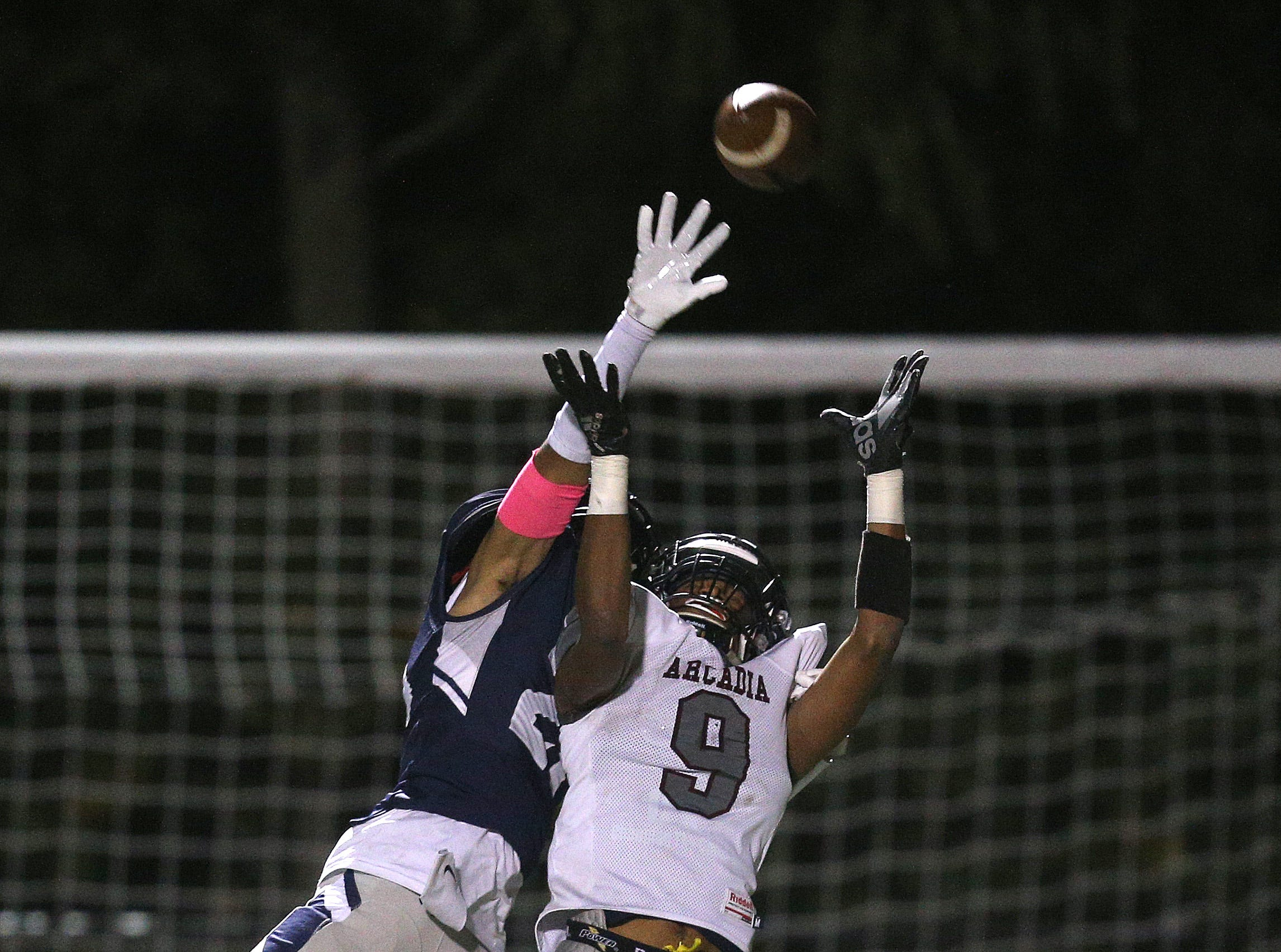 Arcadia receiver Shakim Harris can't reach this pass in the end zone against Eastridge's Isaiah Rivera.