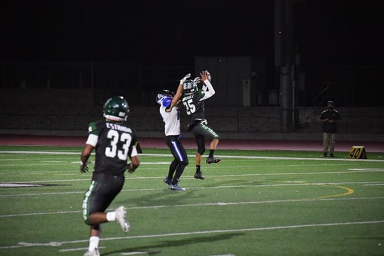 Cornerback Nicholas Enriquez' interception in the second quarter was one of multiple turnovers forced by the Alisal defense.