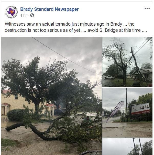 Tornado reported in Brady as wild storms pass through West Texas