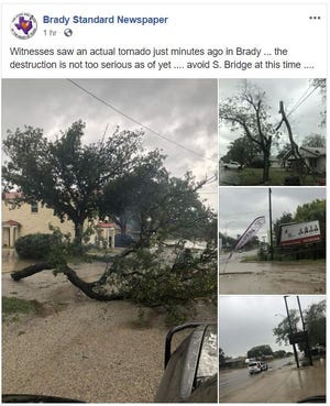 Tornado damage was reported in Brady following wild storms on the morning of Saturday, Oct. 13.