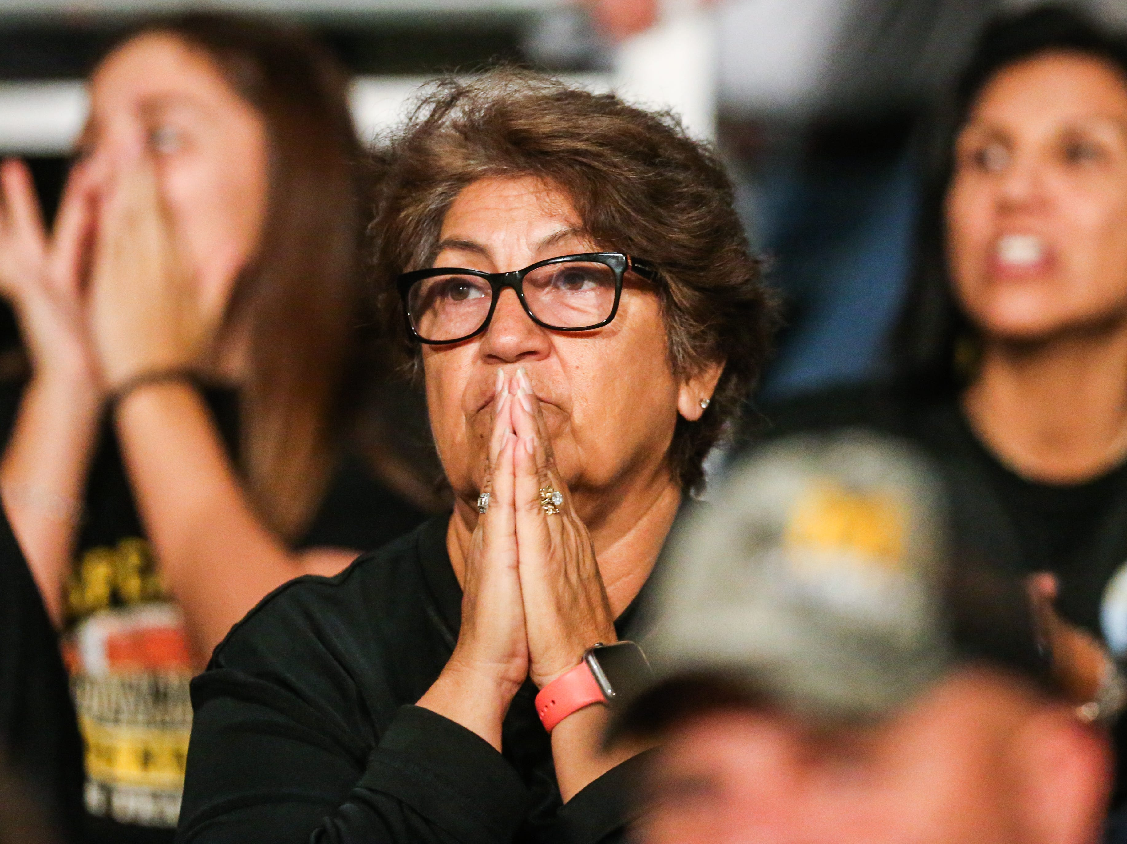 Menard fan closely watches the game against Miles Friday, Oct. 12, 2018, at Miles Bulldog Stadium.
