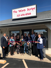 The San Angelo Chamber of Commerce and the Concho Cadre assisted in a ribbon cutting ceremony Sept. 24 to celebrate the grand opening of The Word Script, 2808 Sherwood Way.