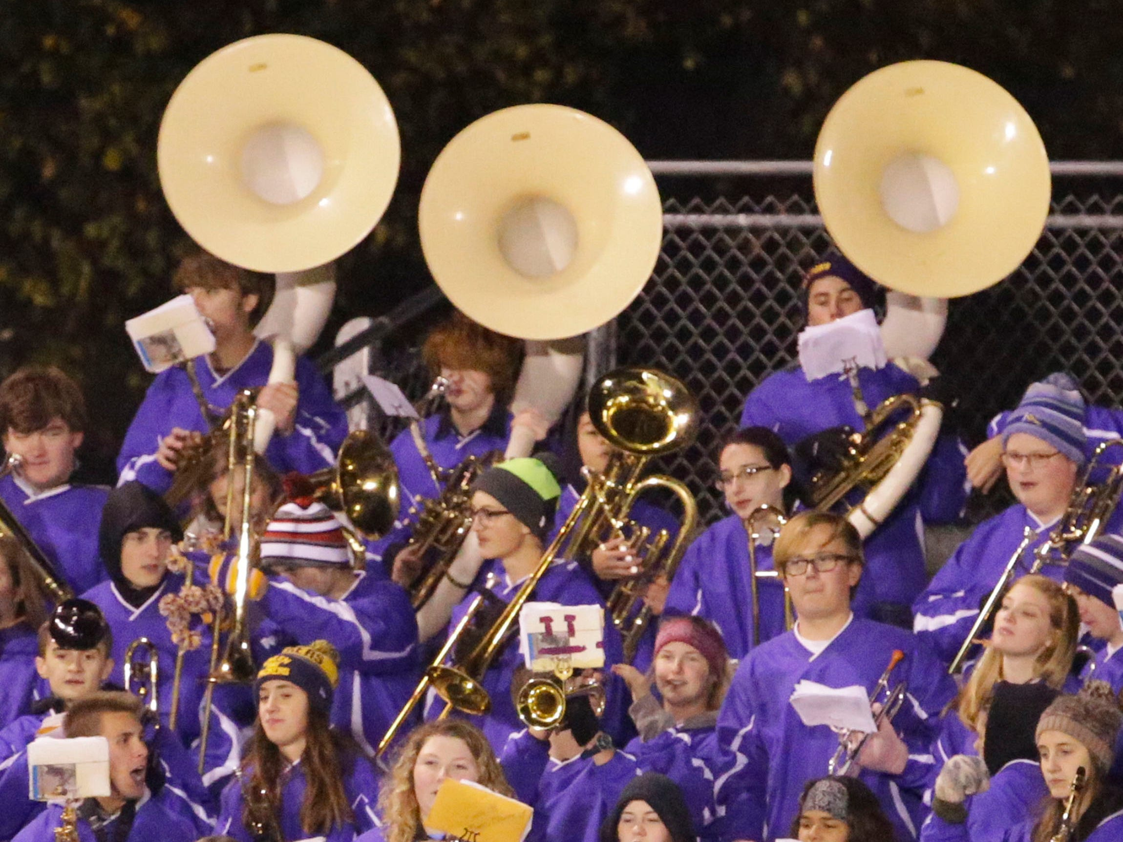 The Sheboygan Falls band performs before the game with Two Rivers, Friday, October 12, 2018, in Sheboygan Falls, Wis.
