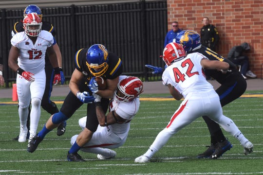 South Dakota State's Kallan Hart (83) gets tackled during a game against Youngstown State Saturday, Oct. 13, 2018 in Brookings, S.D.