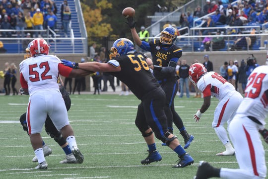 South Dakota State's Taryn Christion (3) throws a pass during a game against Youngstown State Saturday, Oct. 13, 2018 in Brookings, S.D.