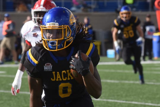 South Dakota State's C.J. Wilson (8) runs the ball during a game against Youngstown State Saturday, Oct. 13, 2018 in Brookings, S.D.