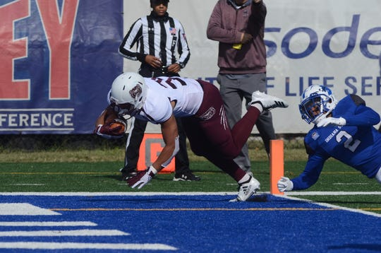 Missouri State tailback Donovan Daniels scores one of his two touchdowns during Saturday afternoon's thrilling win over Indiana State.