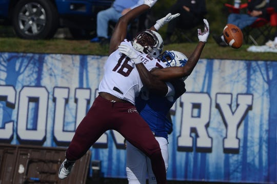 Missouri State receiver Damoriea Vick is well-defended on pass breakup during the Bears' thrilling win over Indiana State.