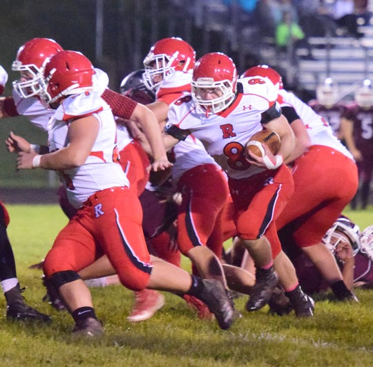 Riverheads' Zac Smiley follows his blockers on a first-quarter running play during its Shenandoah District football game against Luray on Friday, Oct., 12 ,2018, at Bulldog Field in Luray, Va.