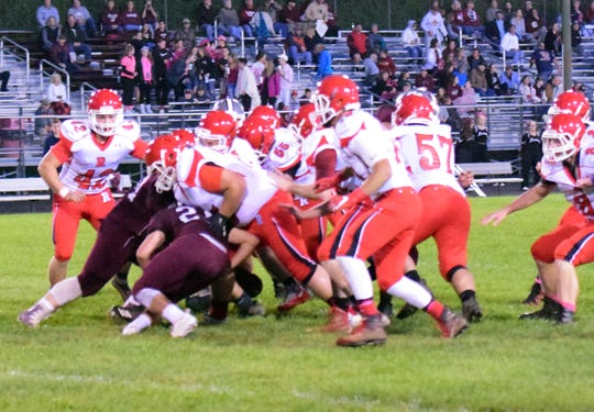 Riverheads' defense collapses on Luray running back Dylan Atkins during the first quarter of their Shenandoah District football game on Friday, Oct. 12, 2018, at Bulldog Field in Luray, Va.