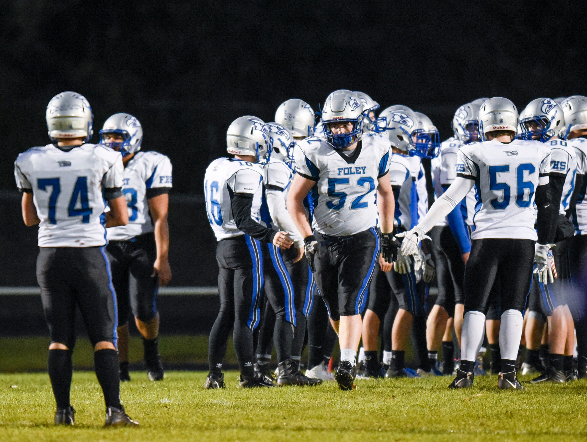 Foley players are introduced before their game against Albany Friday, Oct. 12, in Albany.