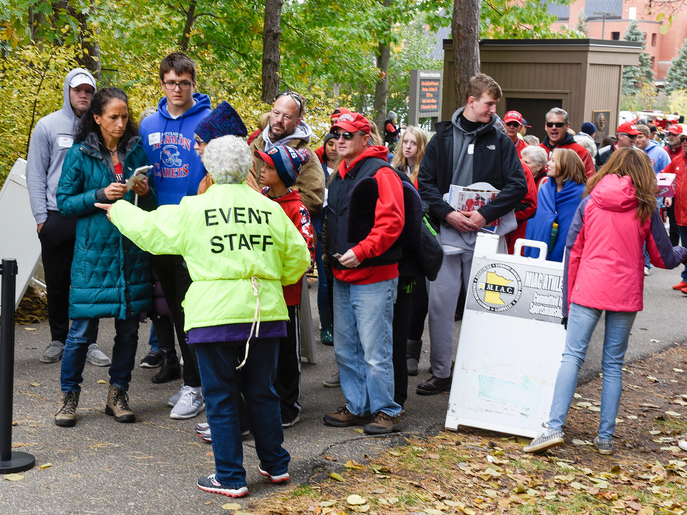 Fans enter the St. John's and St. Thomas game Saturday, Oct. 13, in Collegeville.
