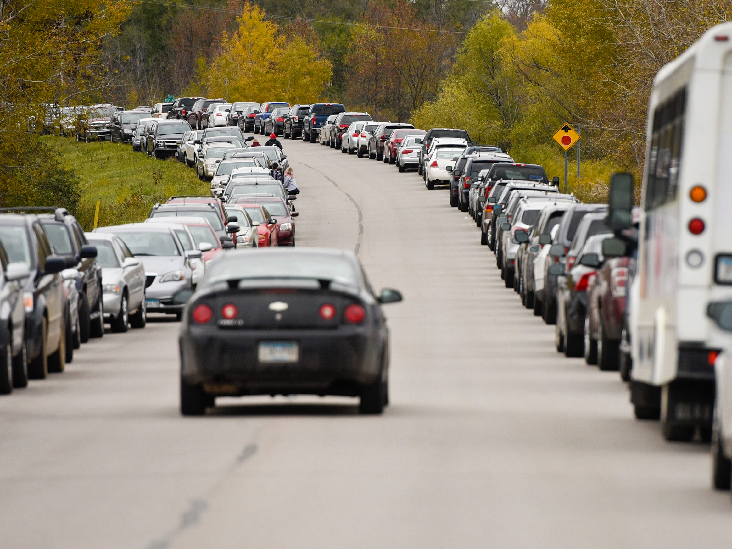 Fans parked their cars north of interstate I-94 for the St. John's and St. Thomas football game Saturday, Oct. 13, in Collegeville.