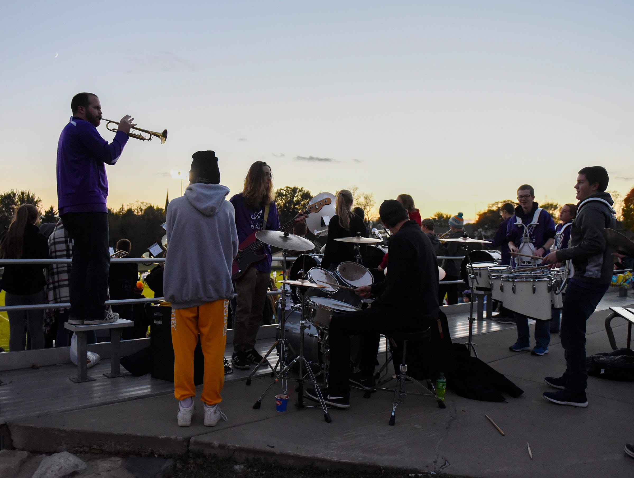 The Albany pep band plays before the game Friday, Oct. 12, in Albany.