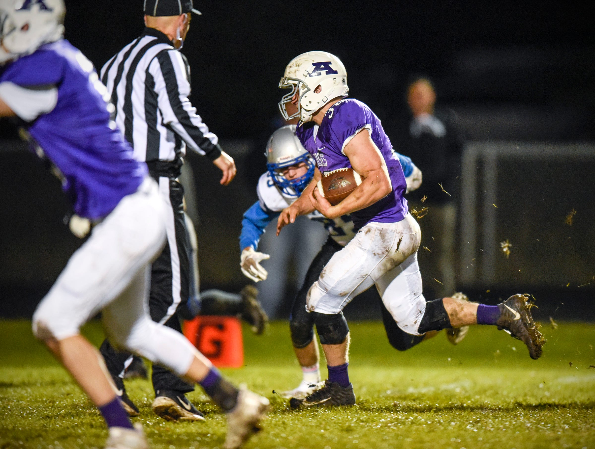 Albany's Gabe Zierden goes in to score against Foley during the first half Friday, Oct. 12, in Albany.