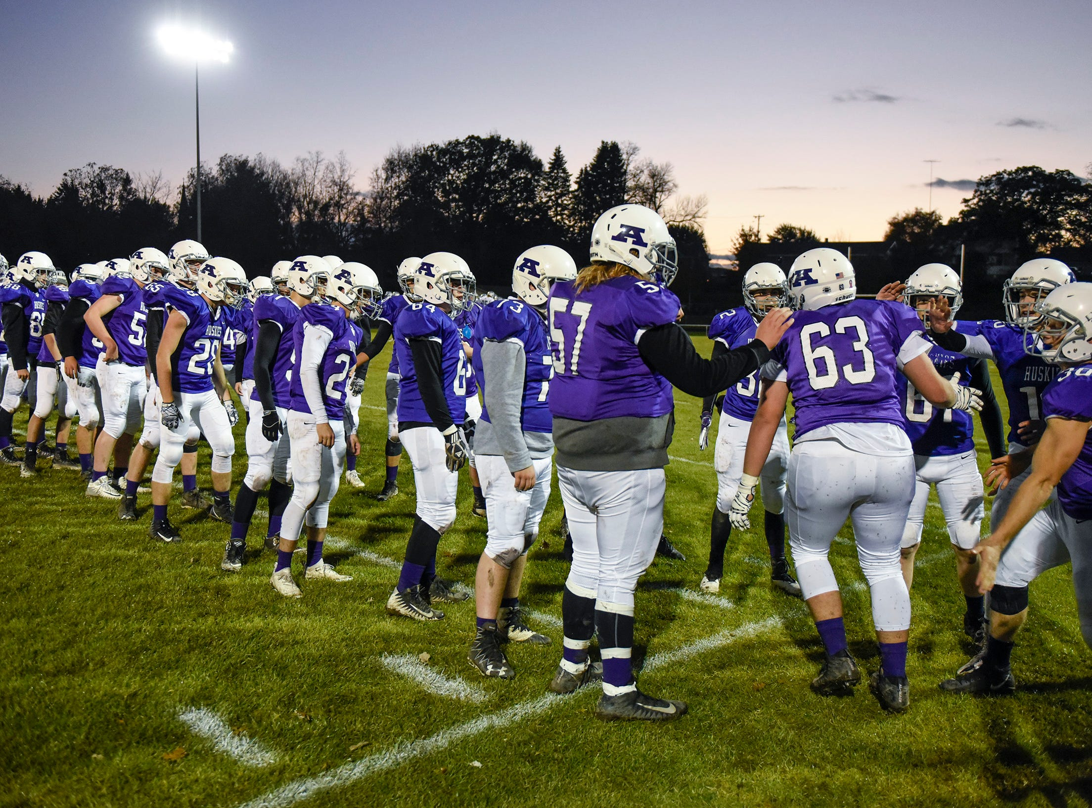 Albany players are introduced before their game against Foley Friday, Oct. 12, in Albany.