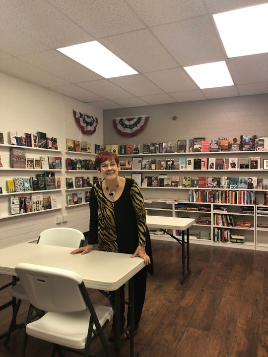 Jean Watkins inside of the library at the Women's History and Culture Center in Mesquite.
