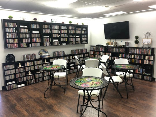 The tea room inside the Women's History and Culture Center in Mesquite stocked with CDs, books and movies featuring women.