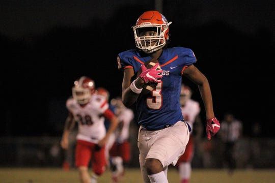 Taylor County's Demari Stephens returns a punt 50 yards for a touchdown in the Bulldogs' 35-6 win over Williston.